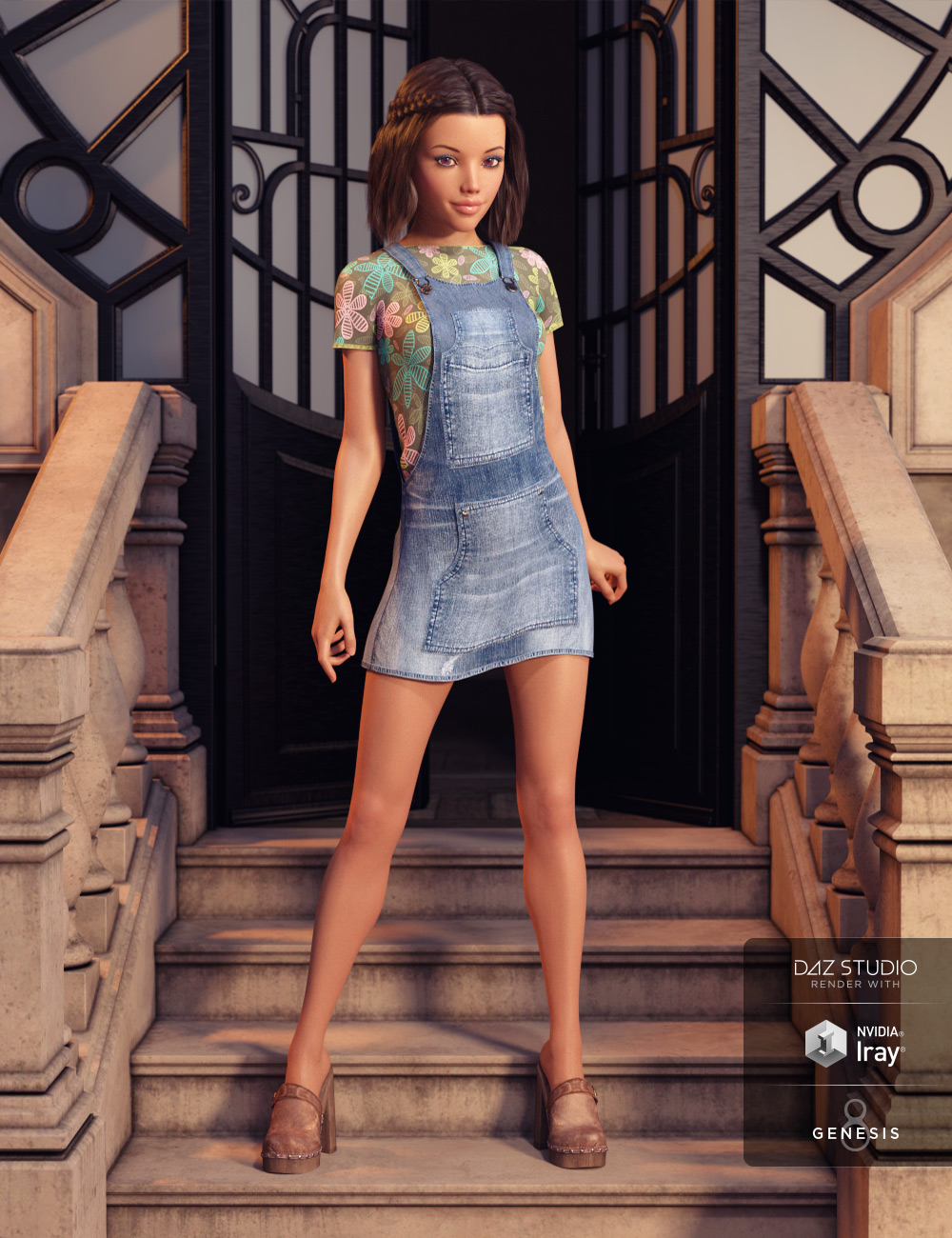 Denim Jumper Outfit for Genesis 8 Female(s) by: Barbara BrundonShox-Design, 3D Models by Daz 3D