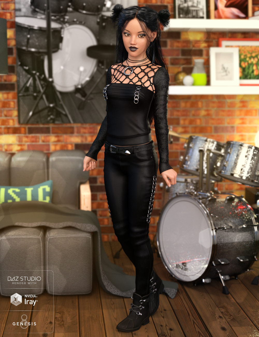 Goth Outfit for Genesis 8 Female(s) by: Anna BenjaminMada, 3D Models by Daz 3D