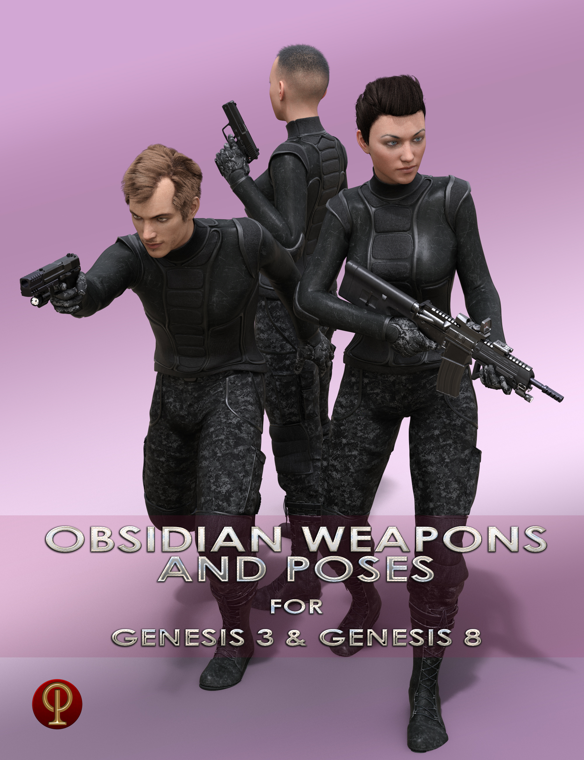 Obsidian Weapons and Poses for Genesis 3 and 8 Male and Female by: Porsimo, 3D Models by Daz 3D
