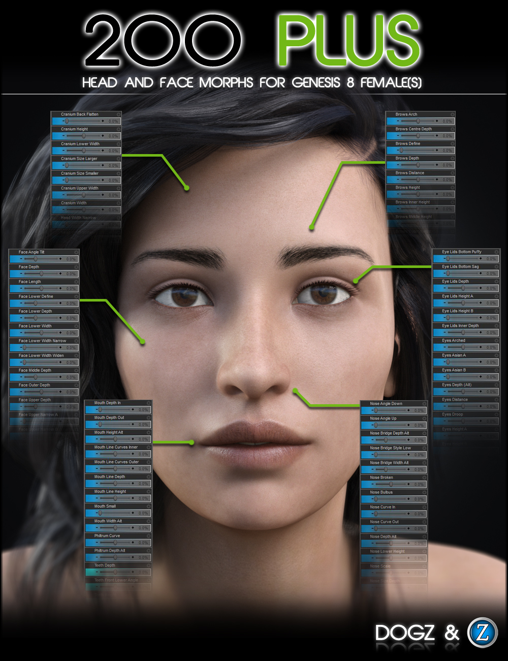 200 Plus Head and Face Morphs for Genesis 8 Female(s) by: Zev0Dogz, 3D Models by Daz 3D