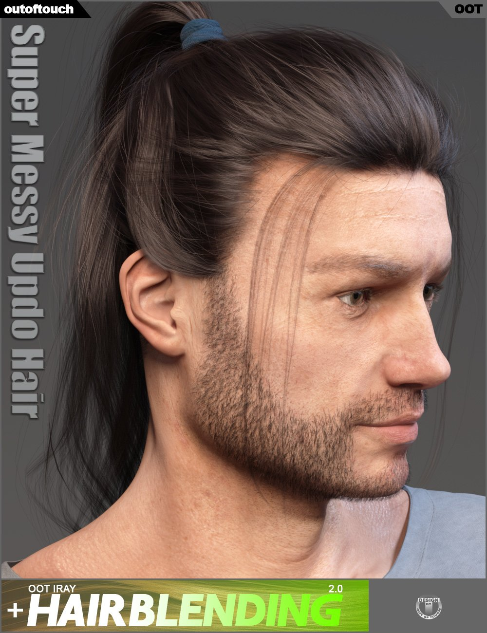 Super Messy Updo Hair for Genesis 3 and 8 by: outoftouch, 3D Models by Daz 3D