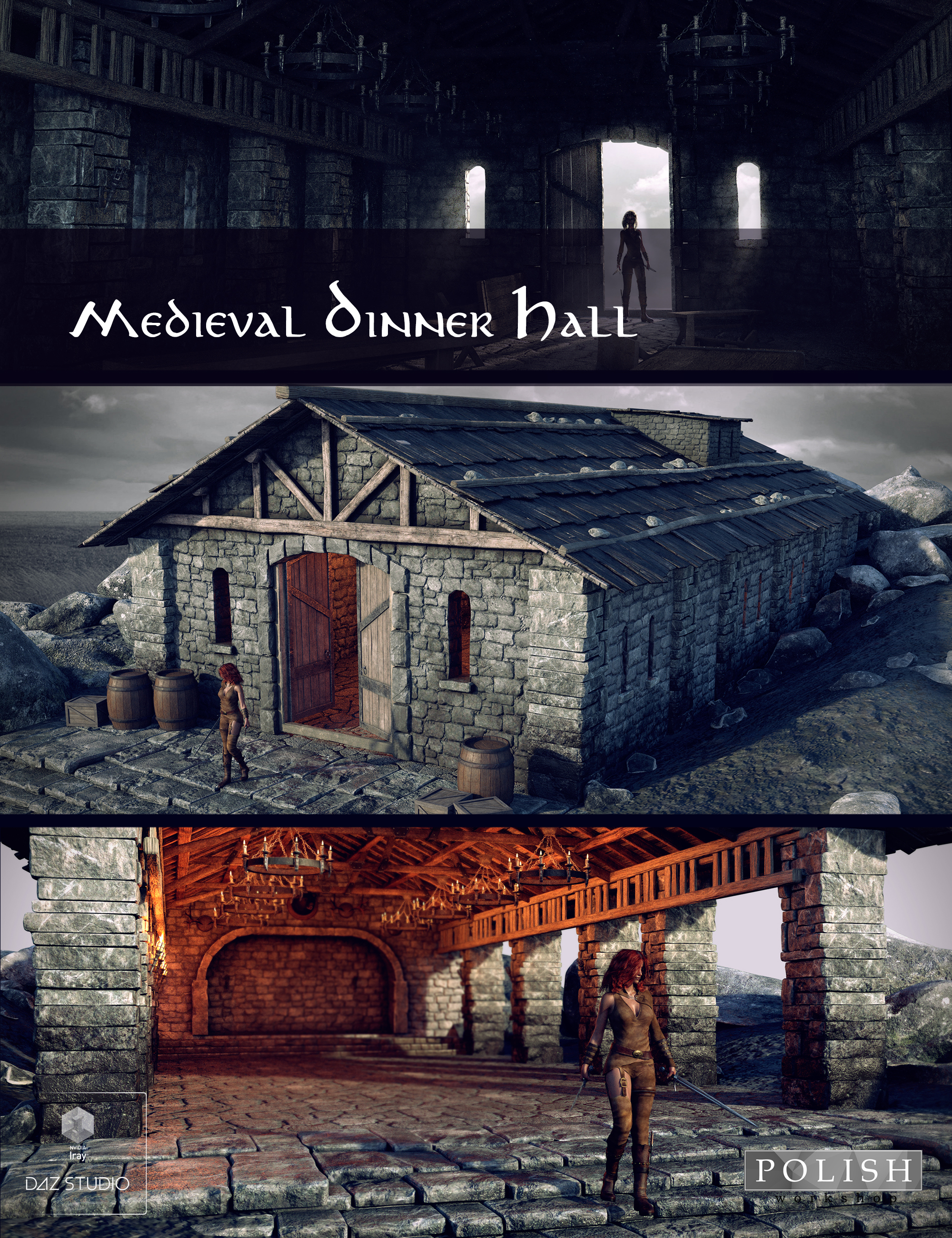 Medieval Dinner Hall by: Polish, 3D Models by Daz 3D