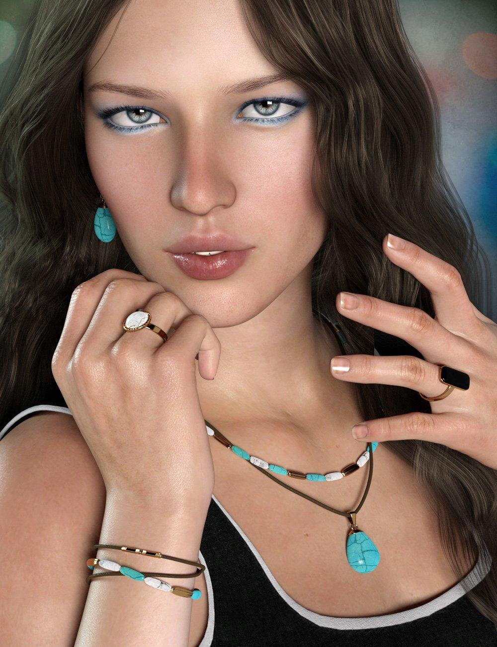 Gem Jewelry for Genesis 3 and 8 Female(s) by: esha, 3D Models by Daz 3D