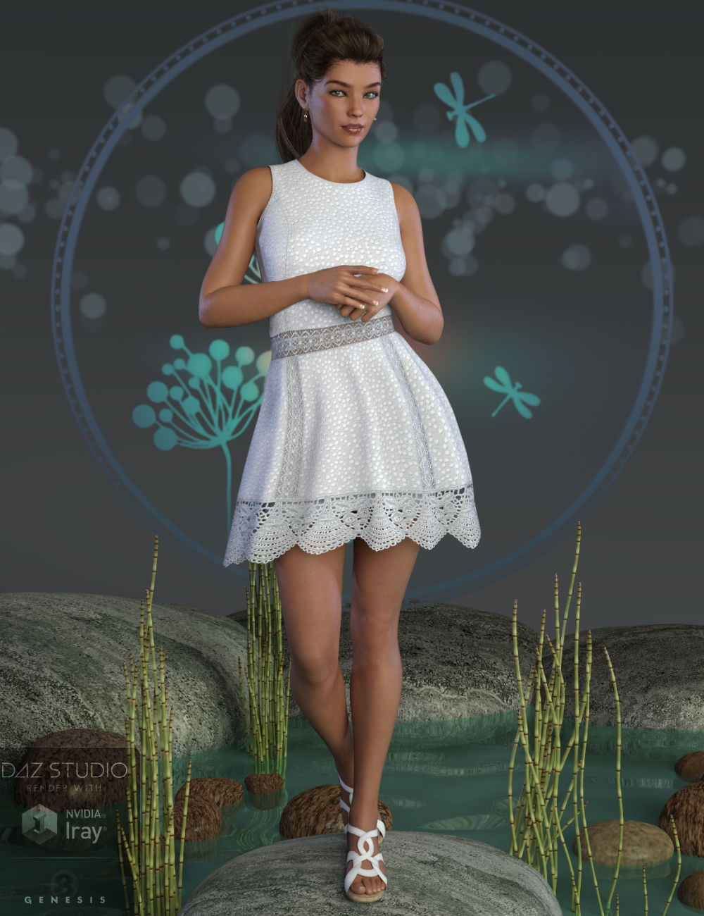Cool Lace Outfit for Genesis 8 Female(s) by: WildDesigns, 3D Models by Daz 3D
