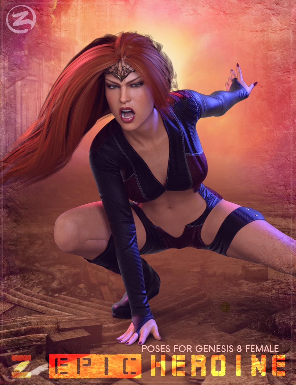 Z Epic Heroine Poses for Genesis 8 Female by: Zeddicuss, 3D Models by Daz 3D