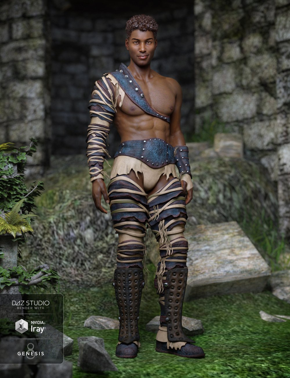 Badlands Gladiator Outfit for Genesis 8 Male(s) by: Barbara BrundonMely3D, 3D Models by Daz 3D