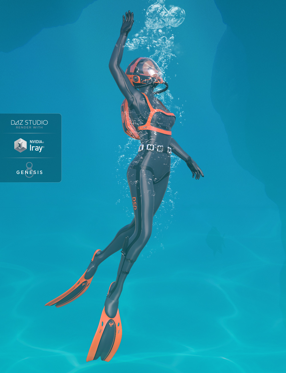 High Tech Scuba Diver for Genesis 8 Female(s) by: midnight_stories, 3D Models by Daz 3D