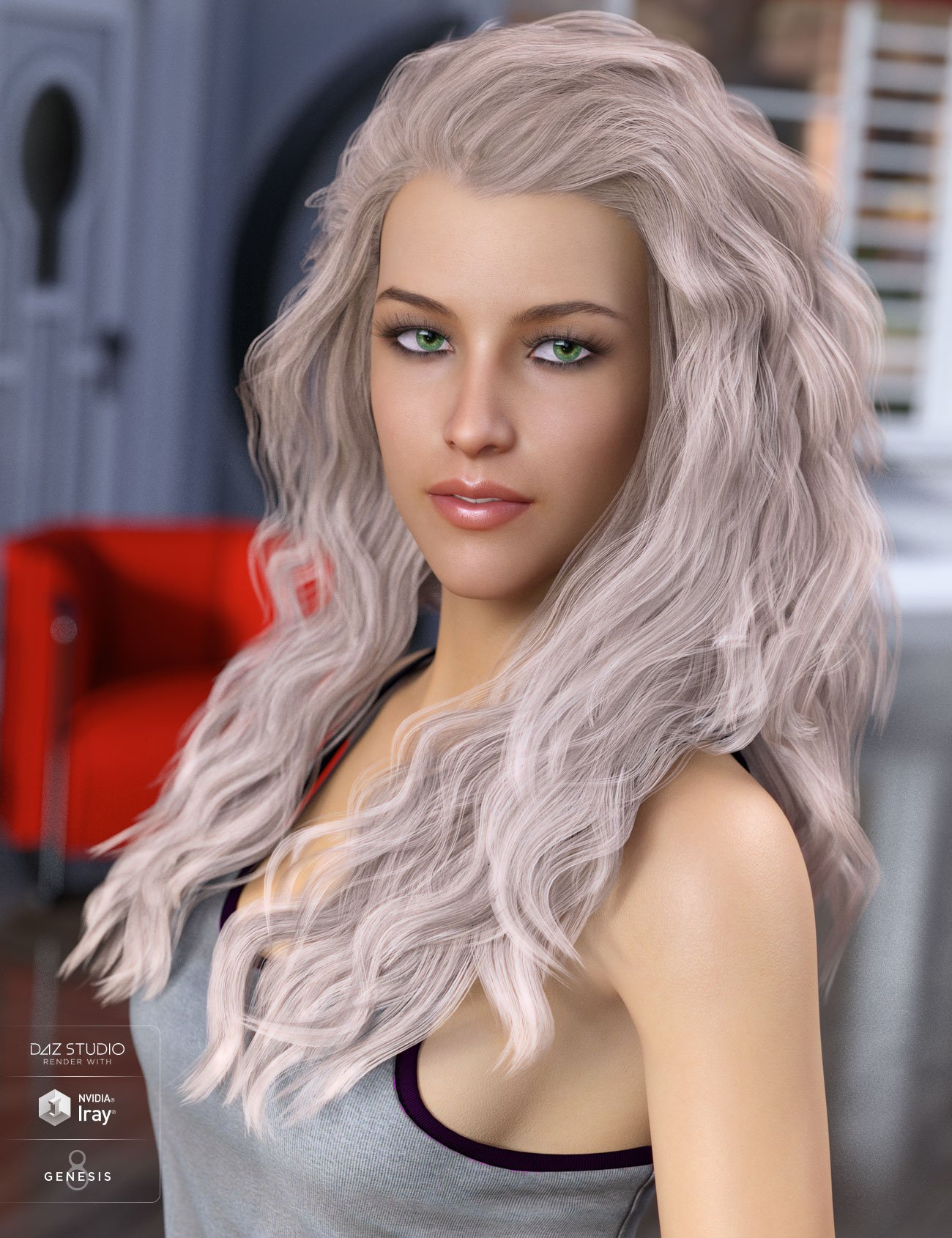 Whitney Hair for Genesis 3 & 8 Female(s) by: AprilYSH, 3D Models by Daz 3D