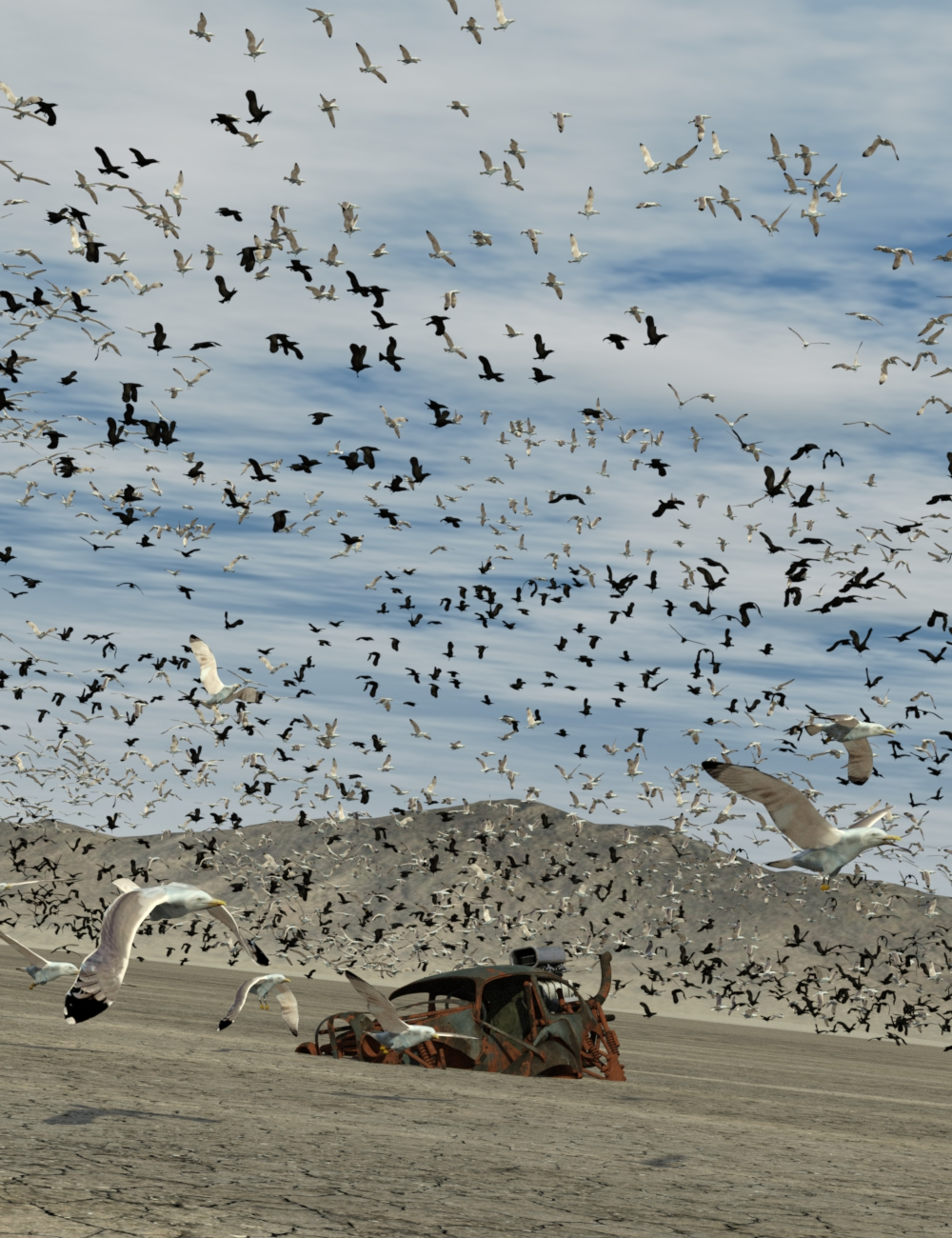 The Flock Gulls and Crows by: DzFire, 3D Models by Daz 3D