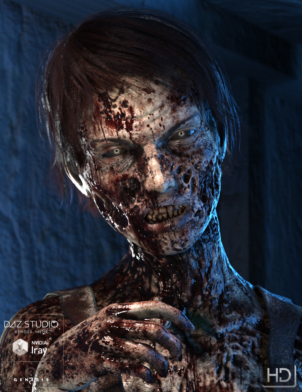 Ultimate Zombie HD for Genesis 3 Female by: Groovy Patrol, 3D Models by Daz 3D