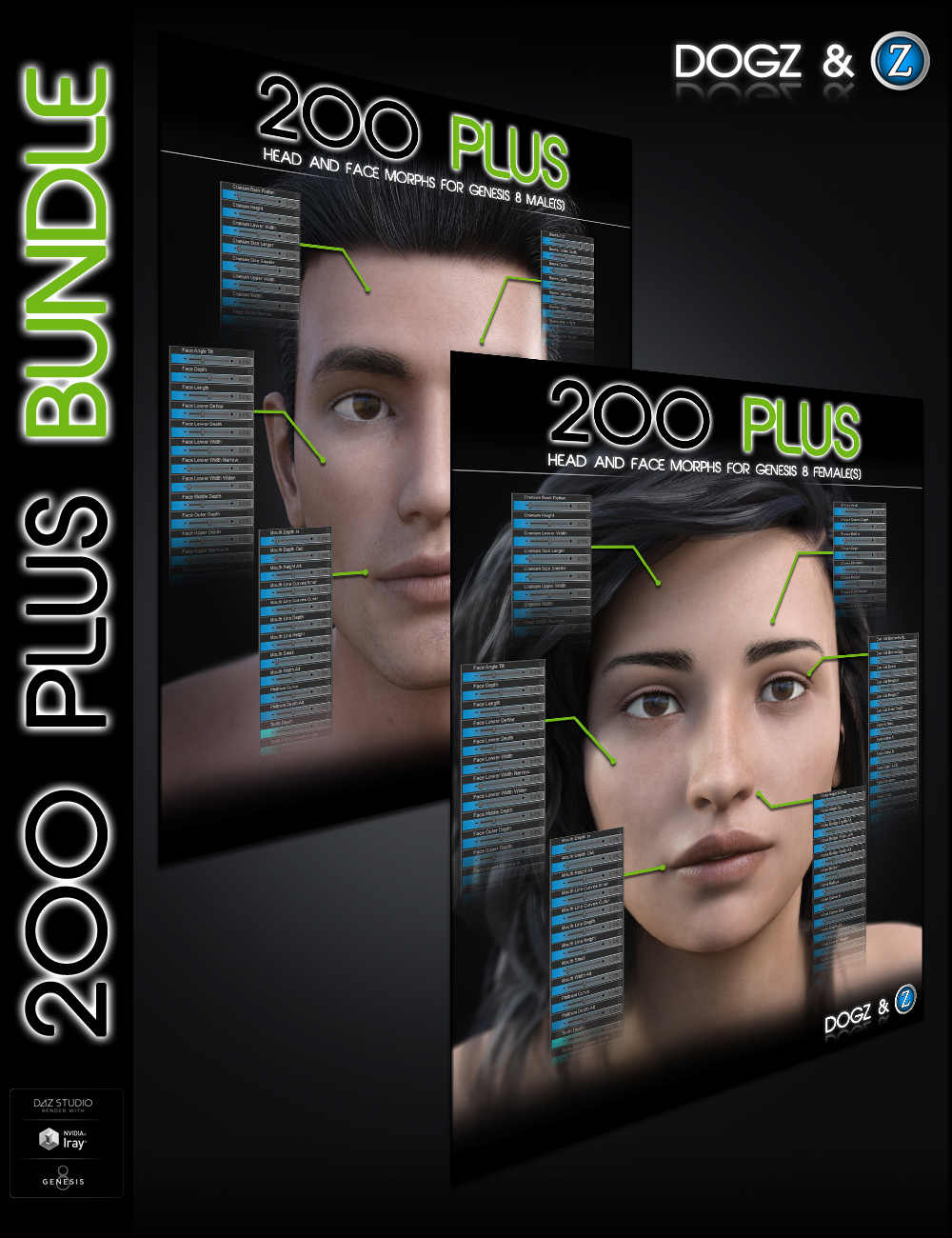 200 Plus Head and Face Morphs Bundle for Genesis 8 Female(s) and Male(s) by: Zev0Dogz, 3D Models by Daz 3D