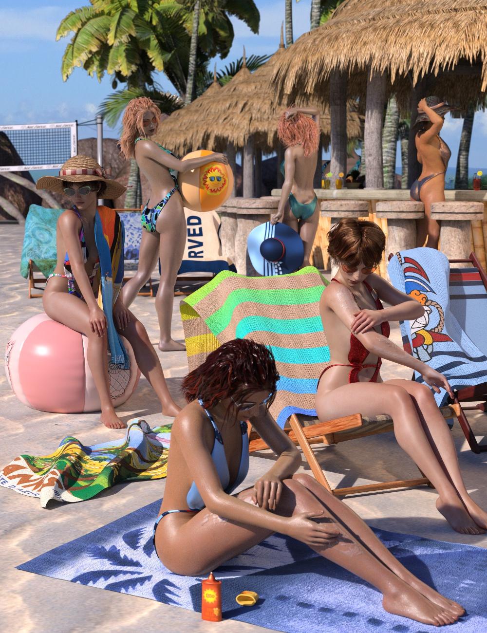 Beach Bundle for Genesis 8 Female(s) by: 3D-GHDesign, 3D Models by Daz 3D