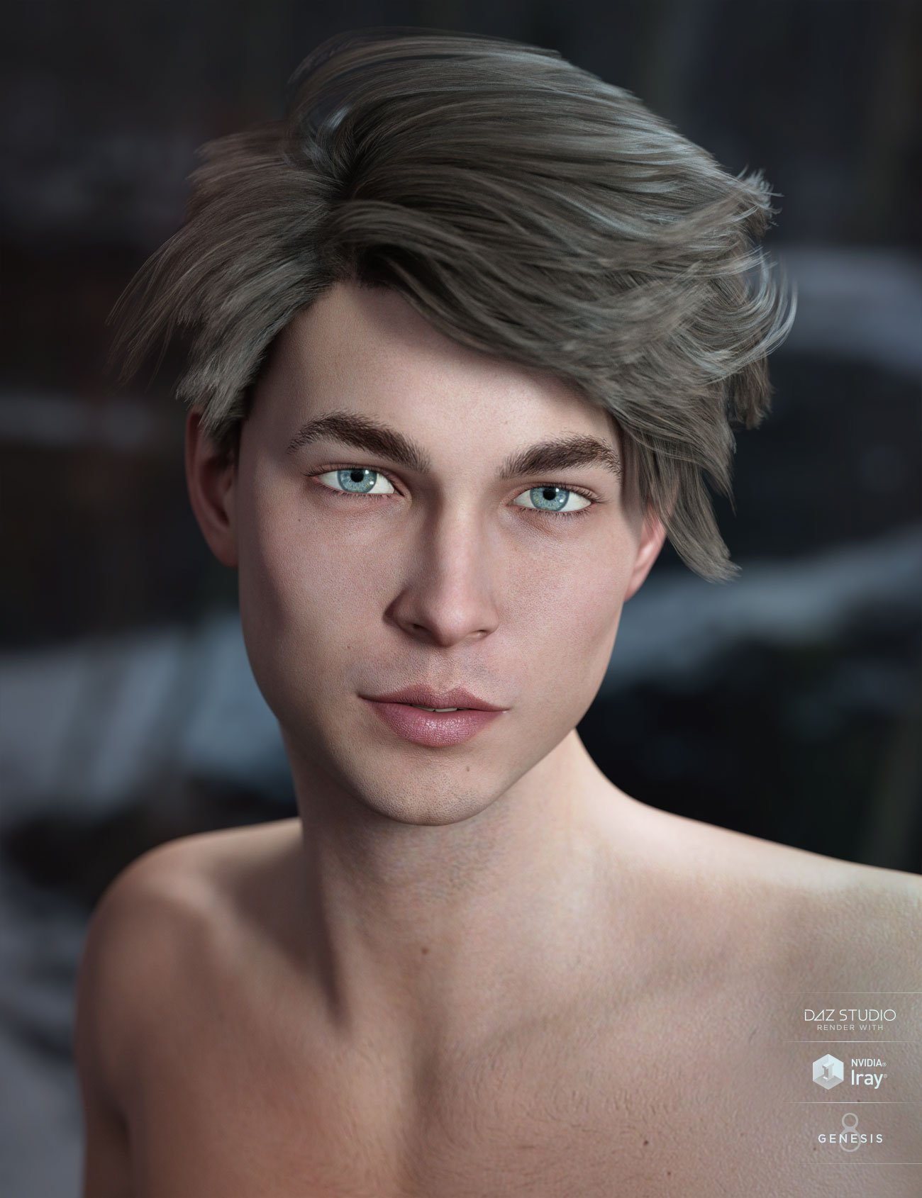 Lyall Hair for Genesis 3 & 8 Male(s) by: AprilYSH, 3D Models by Daz 3D