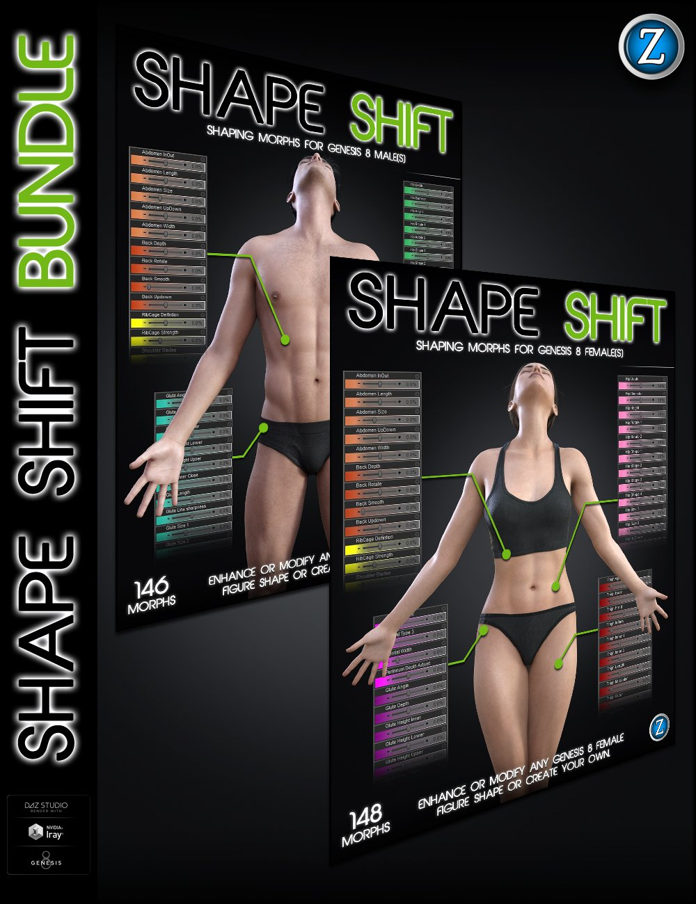 Shape Shift Bundle for Genesis 8 Female(s) and Male(s) by: Zev0, 3D Models by Daz 3D