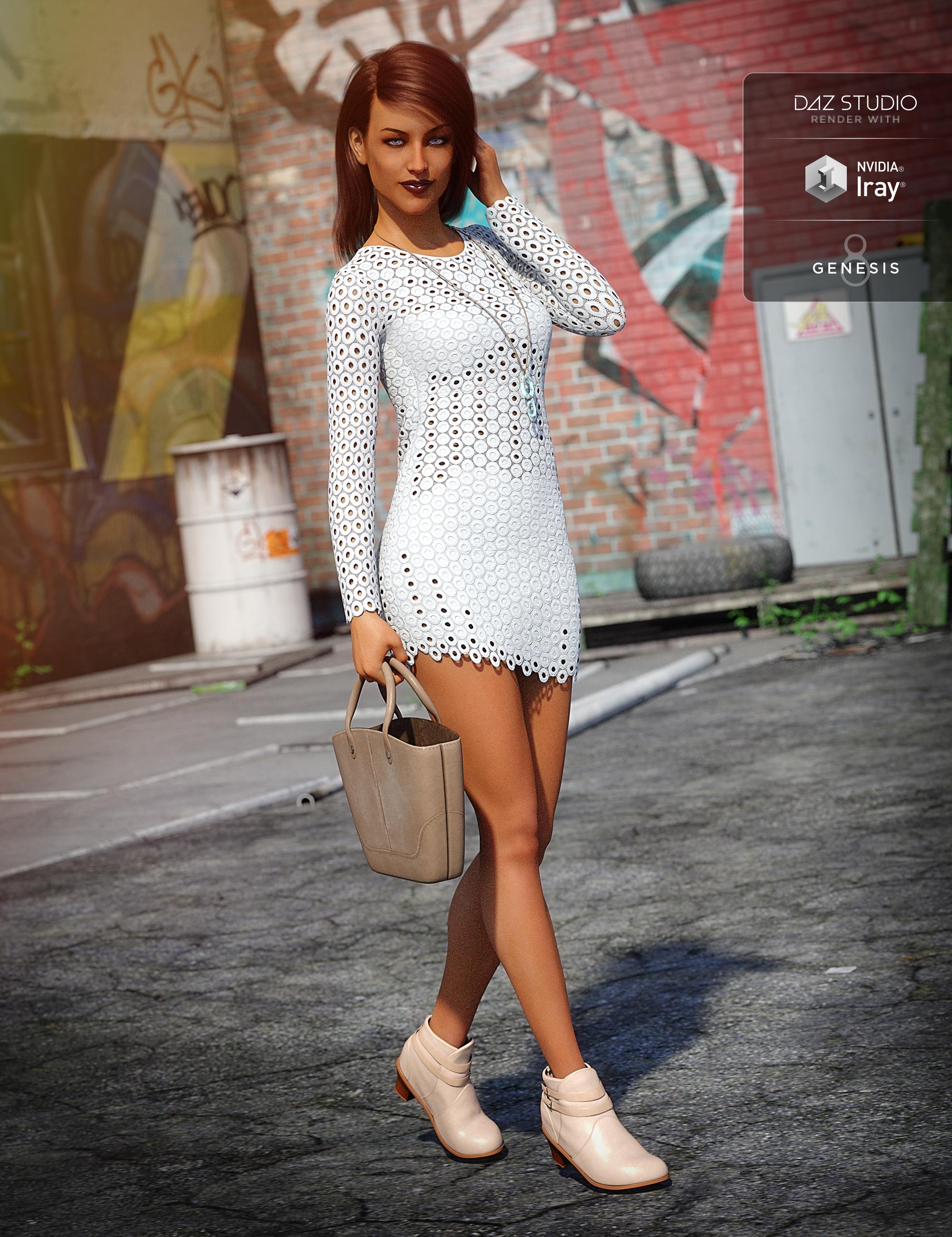 Crochet Dress Outfit for Genesis 8 Female(s) by: DirtyFairyNikisatez, 3D Models by Daz 3D