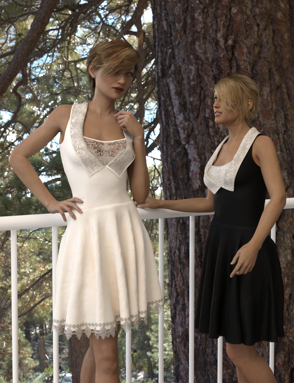 dForce Gored Dress for Genesis 3 and 8 Female(s) by: Aave Nainen, 3D Models by Daz 3D