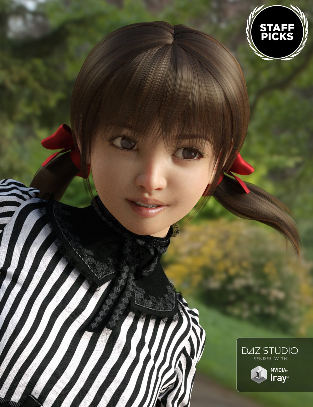 Short Pigtails for Genesis 3 and 8 Female(s) by: Tofusan, 3D Models by Daz 3D