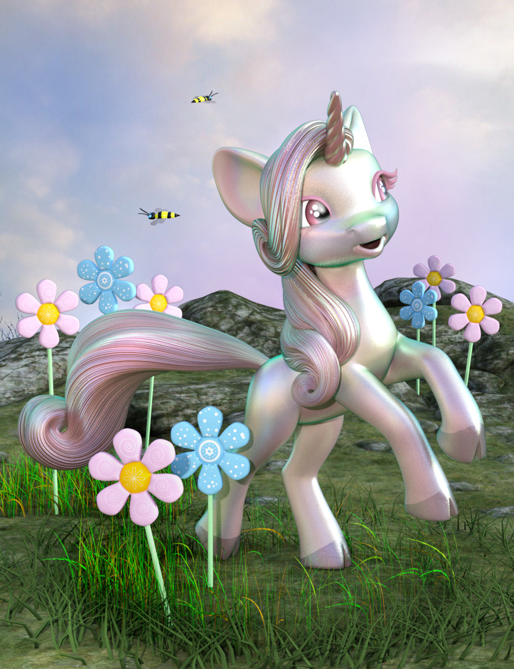 Fanciful Textures for Precious Unicorn by: NGartplay, 3D Models by Daz 3D