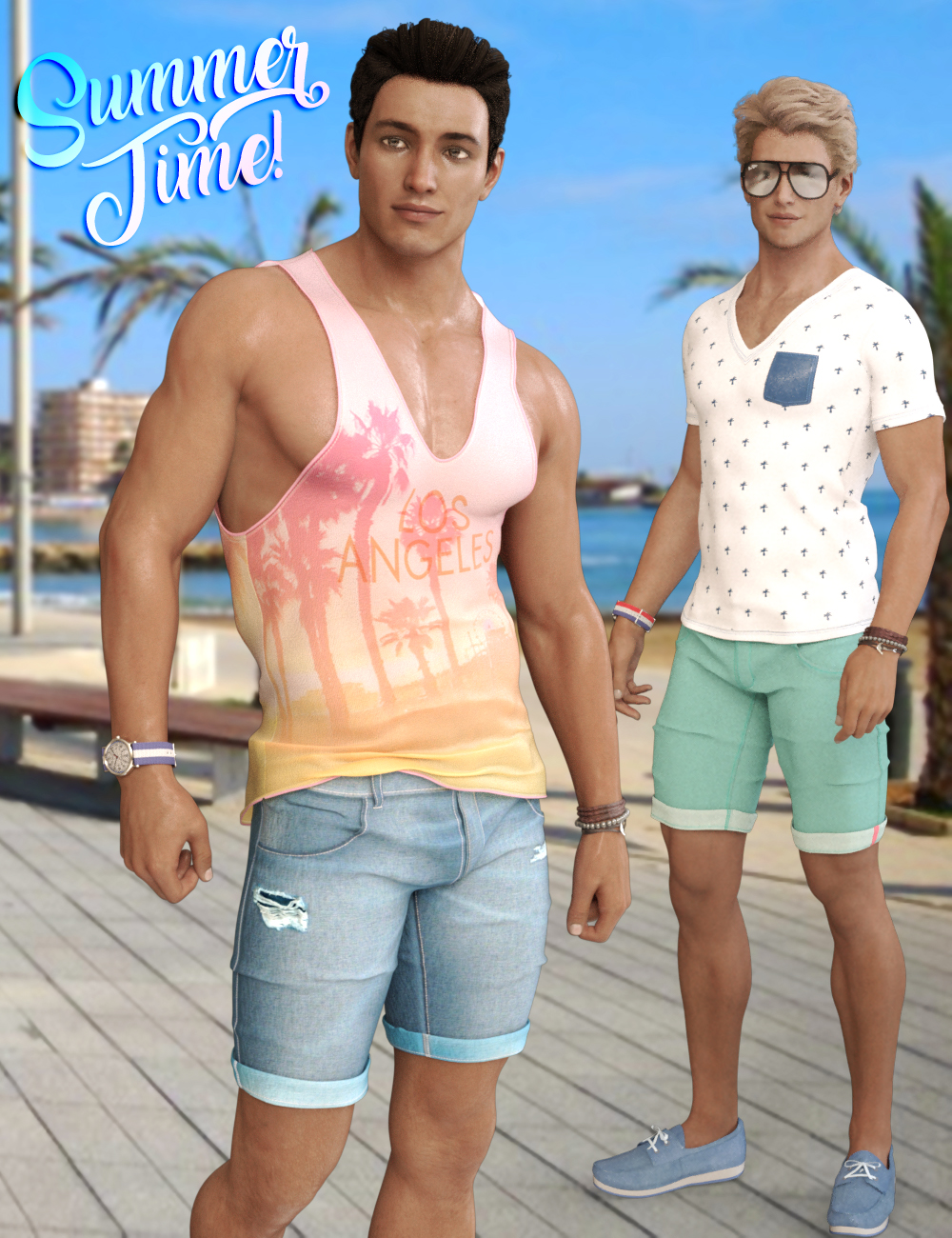 Summer Time Outfit for Genesis 3 and Genesis 8 Male(s) by: Blue Rabbit, 3D Models by Daz 3D