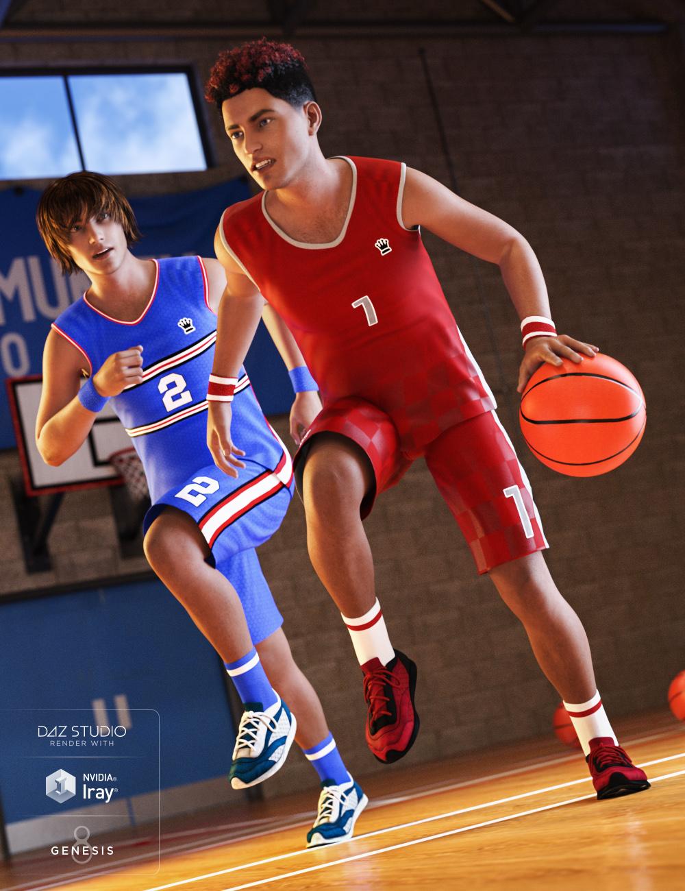 Basketball Kit for Genesis 3 & 8 Male(s) by: JGreenleesPoisenedLilyPredatron, 3D Models by Daz 3D