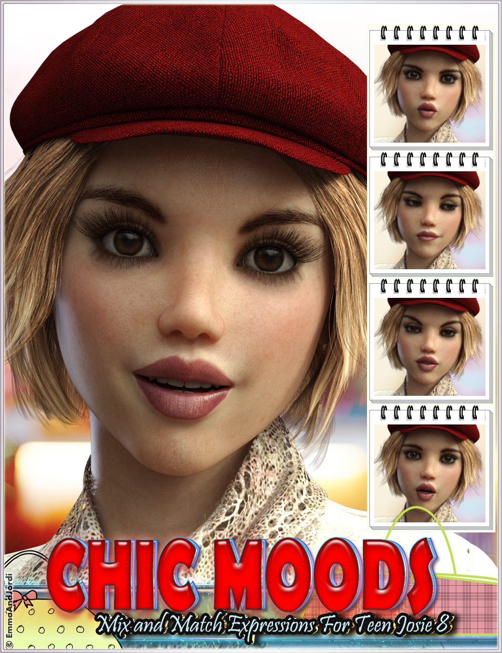 Chic Moods Mix and Match Expressions for Teen Josie 8 and Genesis 8 Female(s) by: EmmaAndJordi, 3D Models by Daz 3D