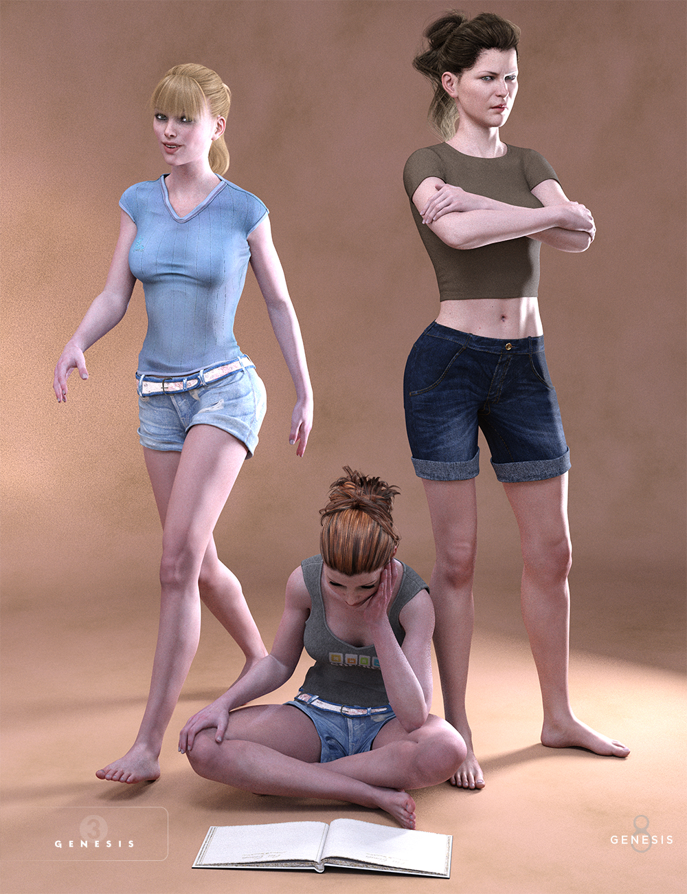 Daily Things Poses for Victoria 7 and 8 by: Porsimo, 3D Models by Daz 3D