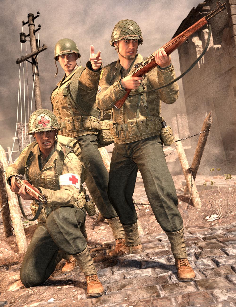 World War II U.S. Uniform HD for Genesis 8 Male(s) by: Luthbel, 3D Models by Daz 3D