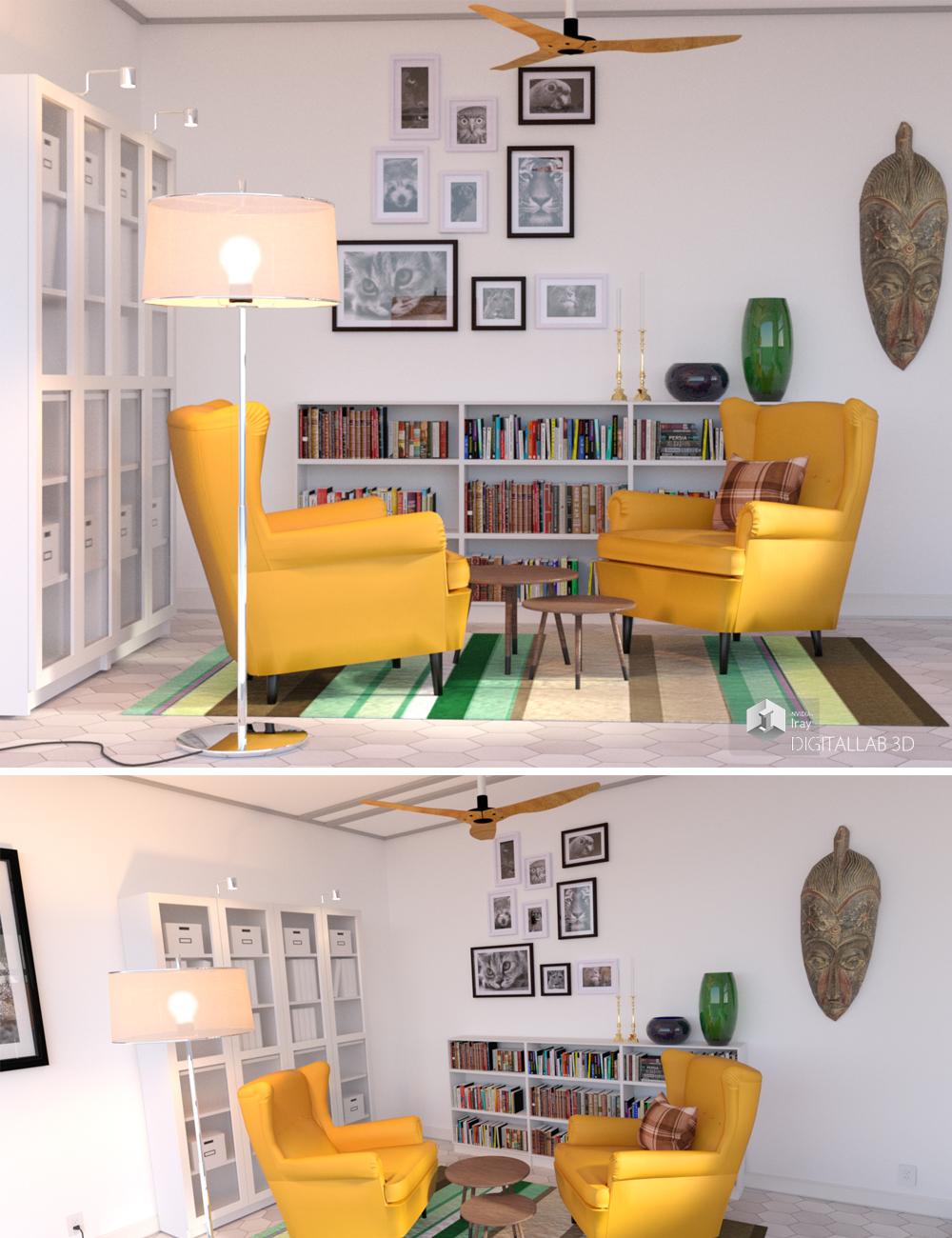 Reading Room by: Digitallab3D, 3D Models by Daz 3D