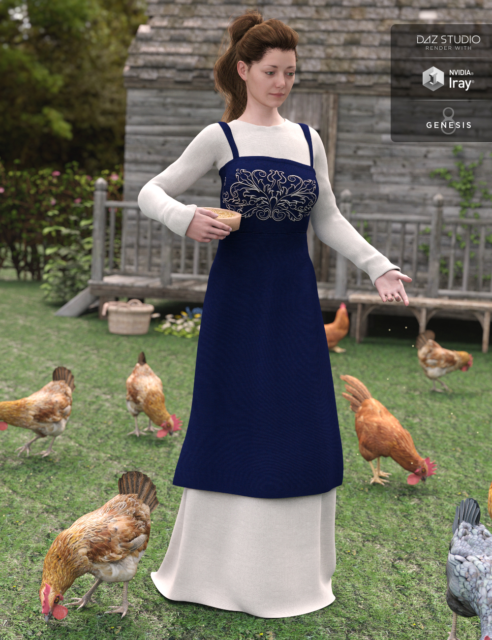 Peasant Dress for Genesis 8 Female(s) by: JGreenleesMadaPoisenedLily, 3D Models by Daz 3D