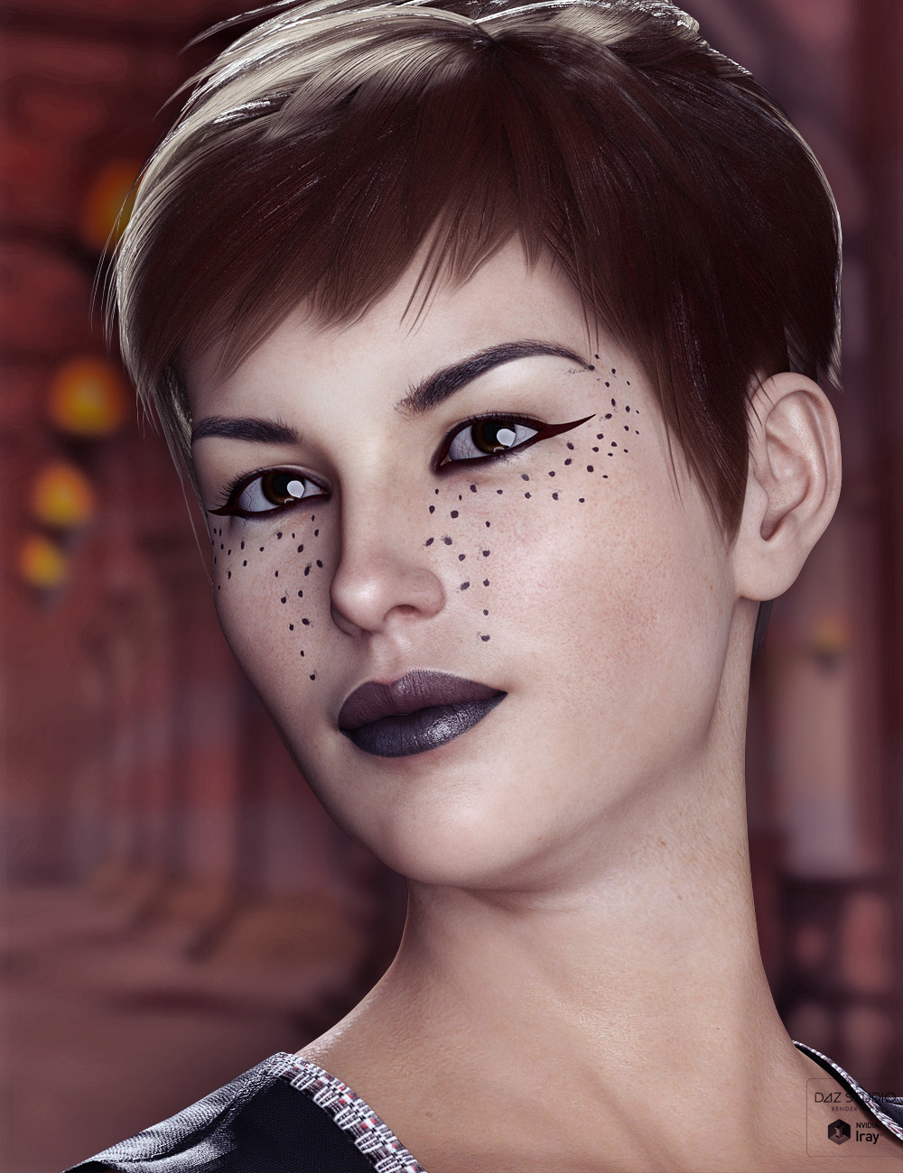 Extreme Closeup: Smokey Rebel Makeup for Genesis 3 and 8 Female(s) by: ForbiddenWhispers, 3D Models by Daz 3D