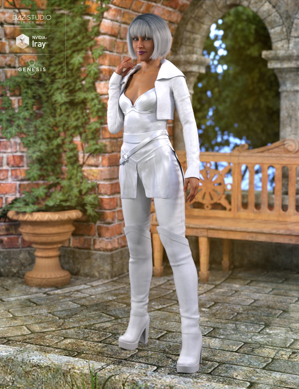 White Fox Outfit for Genesis 8 Female(s) by: Barbara BrundonDirtyFairy, 3D Models by Daz 3D