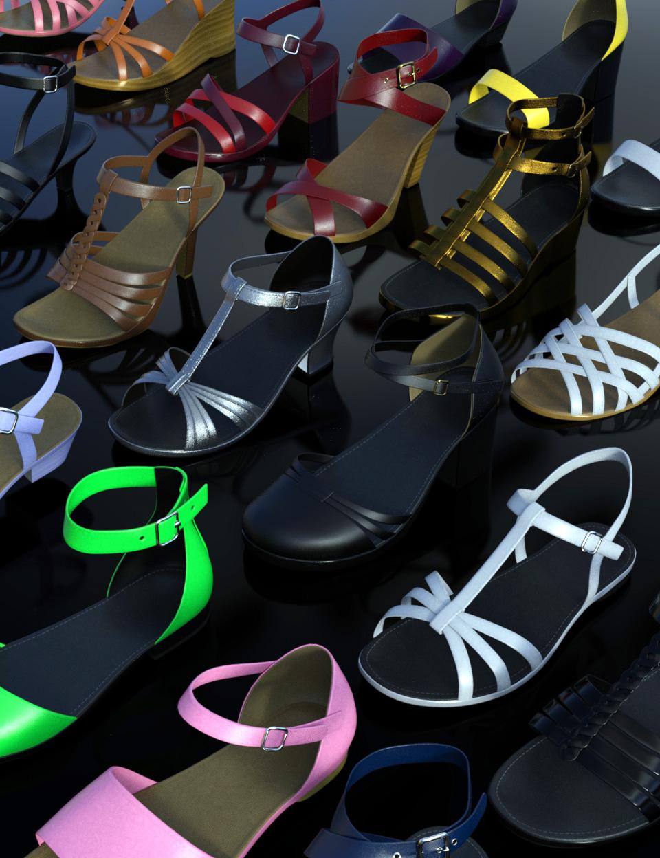Summer Footwear Collection Genesis 2, 3 & 8 Female(s) by: Dogz, 3D Models by Daz 3D