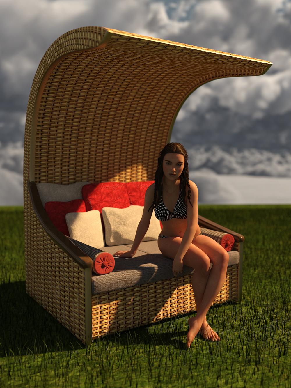 RW Summer Bench by: Renderwelten, 3D Models by Daz 3D