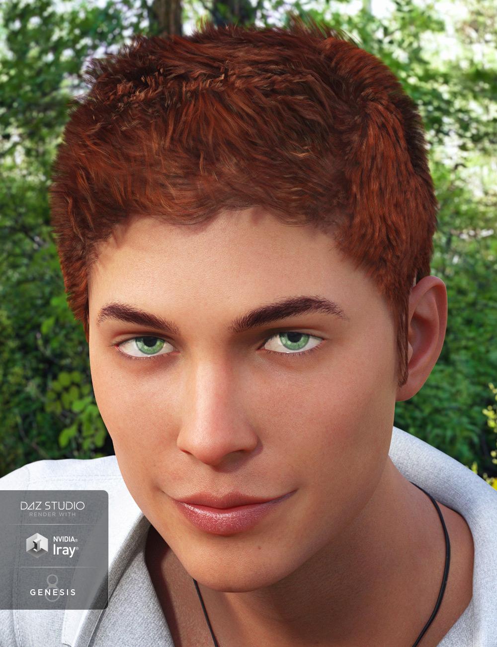 Zack Hair for Genesis 8 Male(s) by: 3DCelebrity, 3D Models by Daz 3D