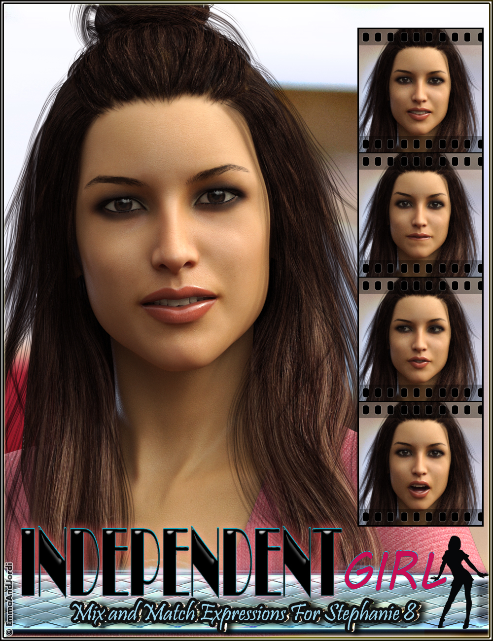 Independent Girl Mix and Match Expressions for Stephanie 8 and Genesis 8 Female(s) by: EmmaAndJordi, 3D Models by Daz 3D
