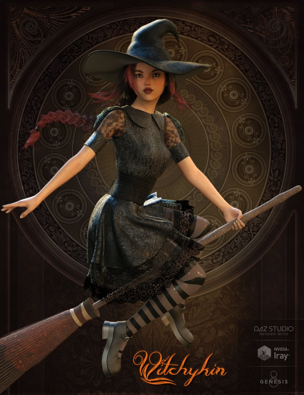 Witchykin Outfit for Genesis 8 Female(s) by: Pixelunashadownet, 3D Models by Daz 3D