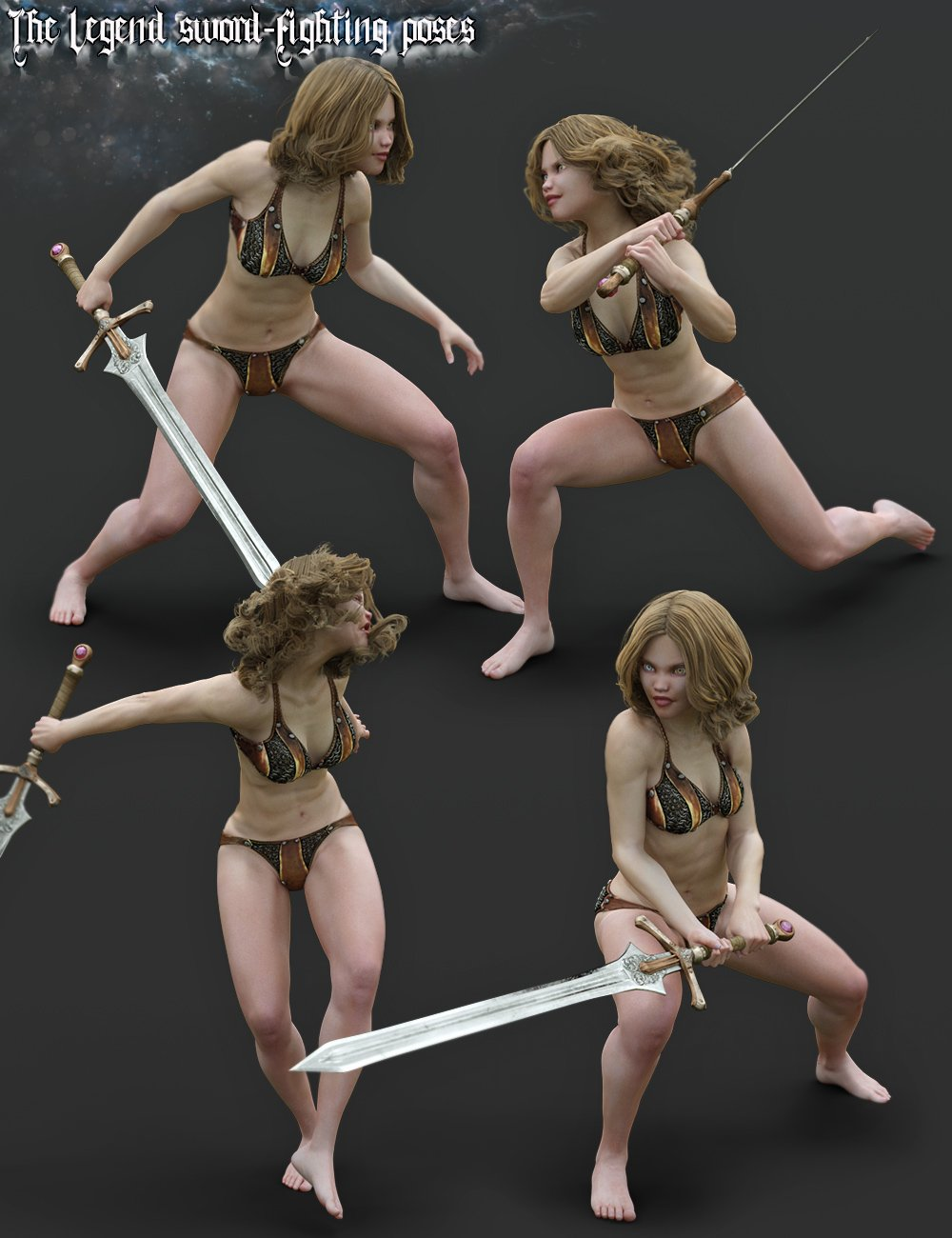 The Legend Sword - Fighting Poses for Genesis 3 and 8 Female by: Aeon Soul, 3D Models by Daz 3D
