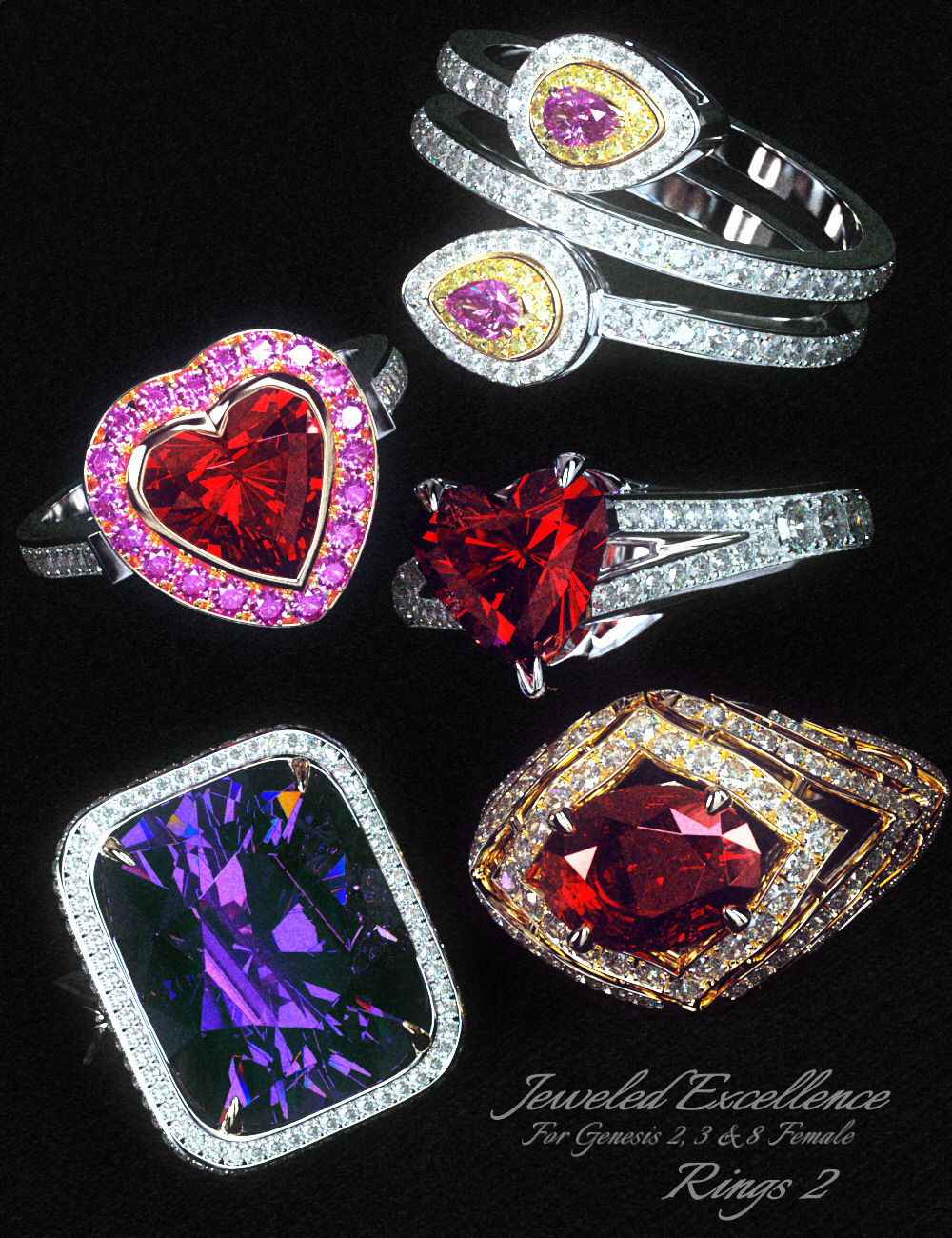 Jeweled Excellence Rings 2 for Genesis 2, 3 and 8 Female(s) by: Mattymanx, 3D Models by Daz 3D