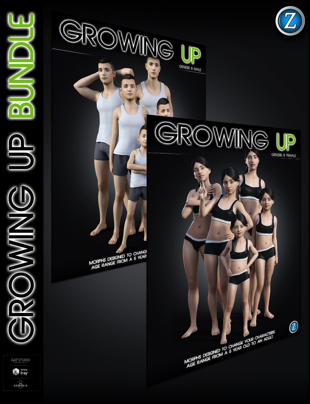 Growing Up Bundle for Genesis 8 Female(s) and Male(s) by: Zev0, 3D Models by Daz 3D