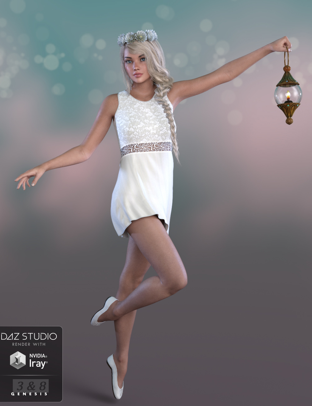 dForce Summer Angel Outfit for Genesis 3 and 8 Female(s) by: PandyGirlWildDesigns, 3D Models by Daz 3D