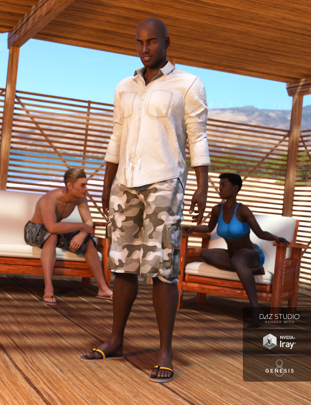 Boardwalk Casual Outfit for Genesis 8 Male(s) by: -Yannek-Barbara Brundon, 3D Models by Daz 3D