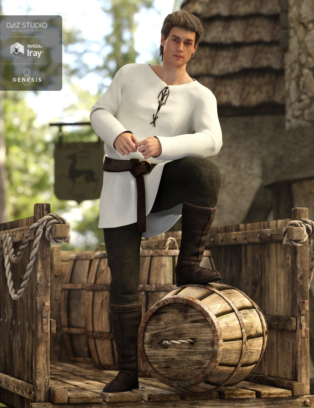Peasant Outfit for Genesis 8 Male(s) by: JGreenleesPoisenedLily, 3D Models by Daz 3D