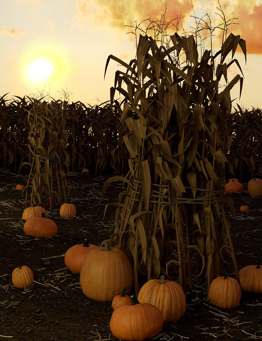 Corn Stalks and Fields by: Orestes Graphics, 3D Models by Daz 3D
