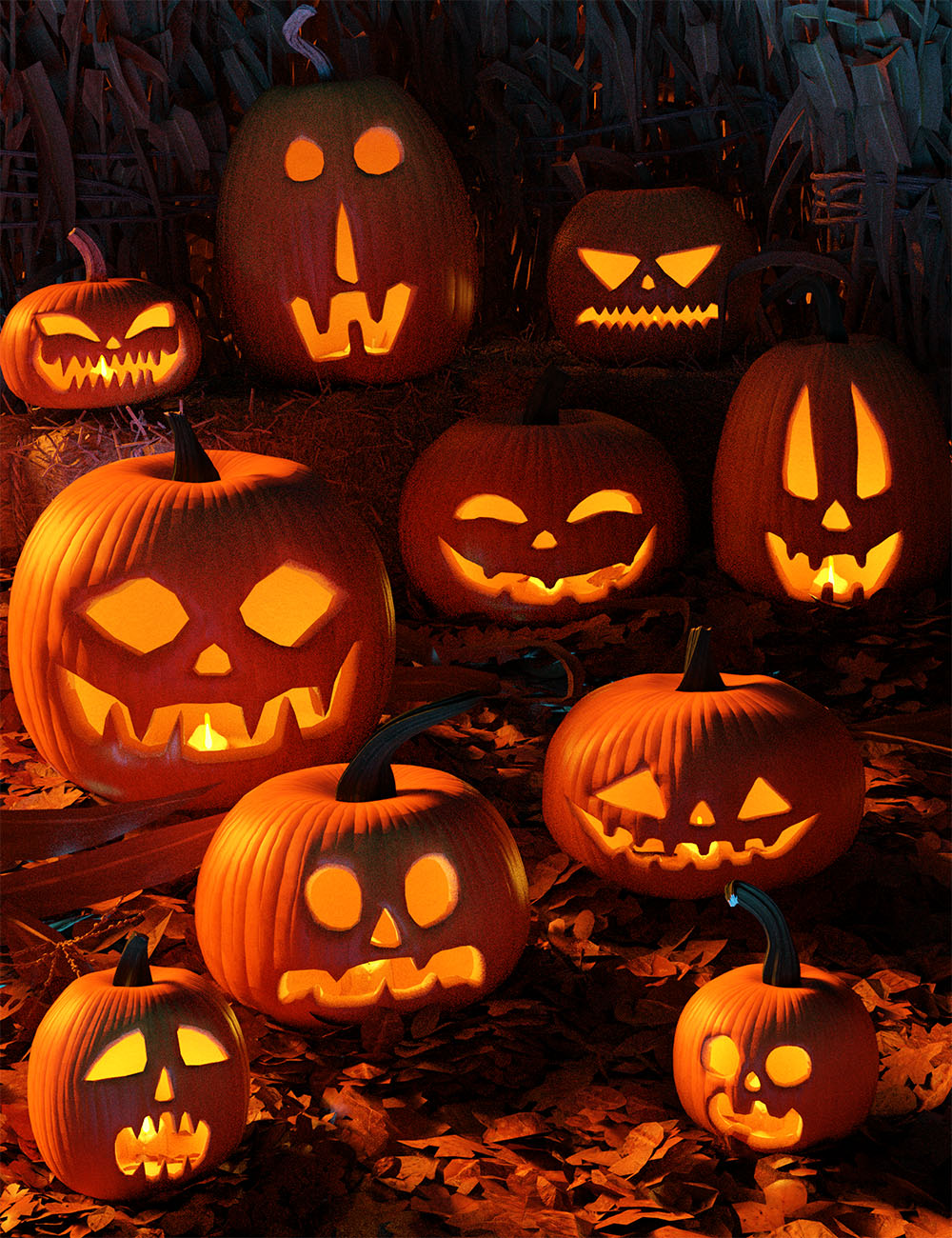 Halloween Jack O Lanterns by: Orestes Graphics, 3D Models by Daz 3D