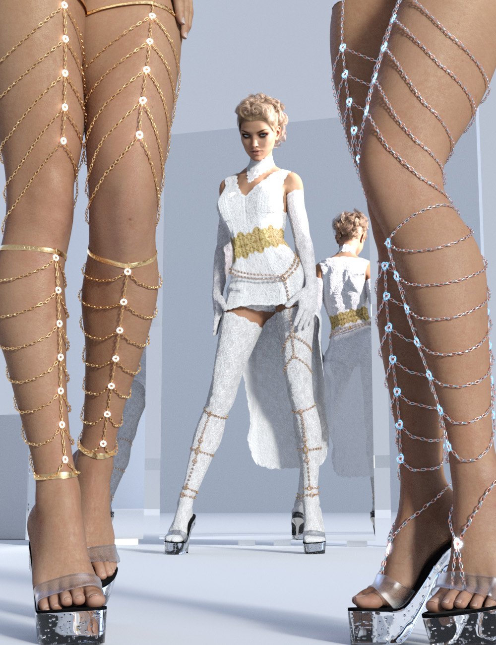 Leg Chains for Genesis 3 and Genesis 8 Female(s) by: Sshodan, 3D Models by Daz 3D