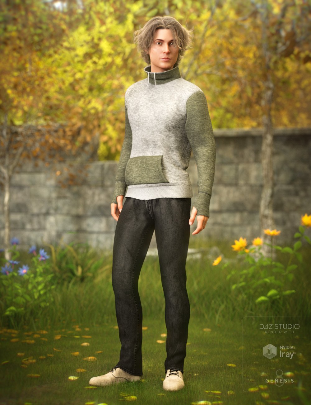 High Neck Sweatshirt Outfit for Genesis 8 Male(s) by: DirtyFairyNikisatez, 3D Models by Daz 3D