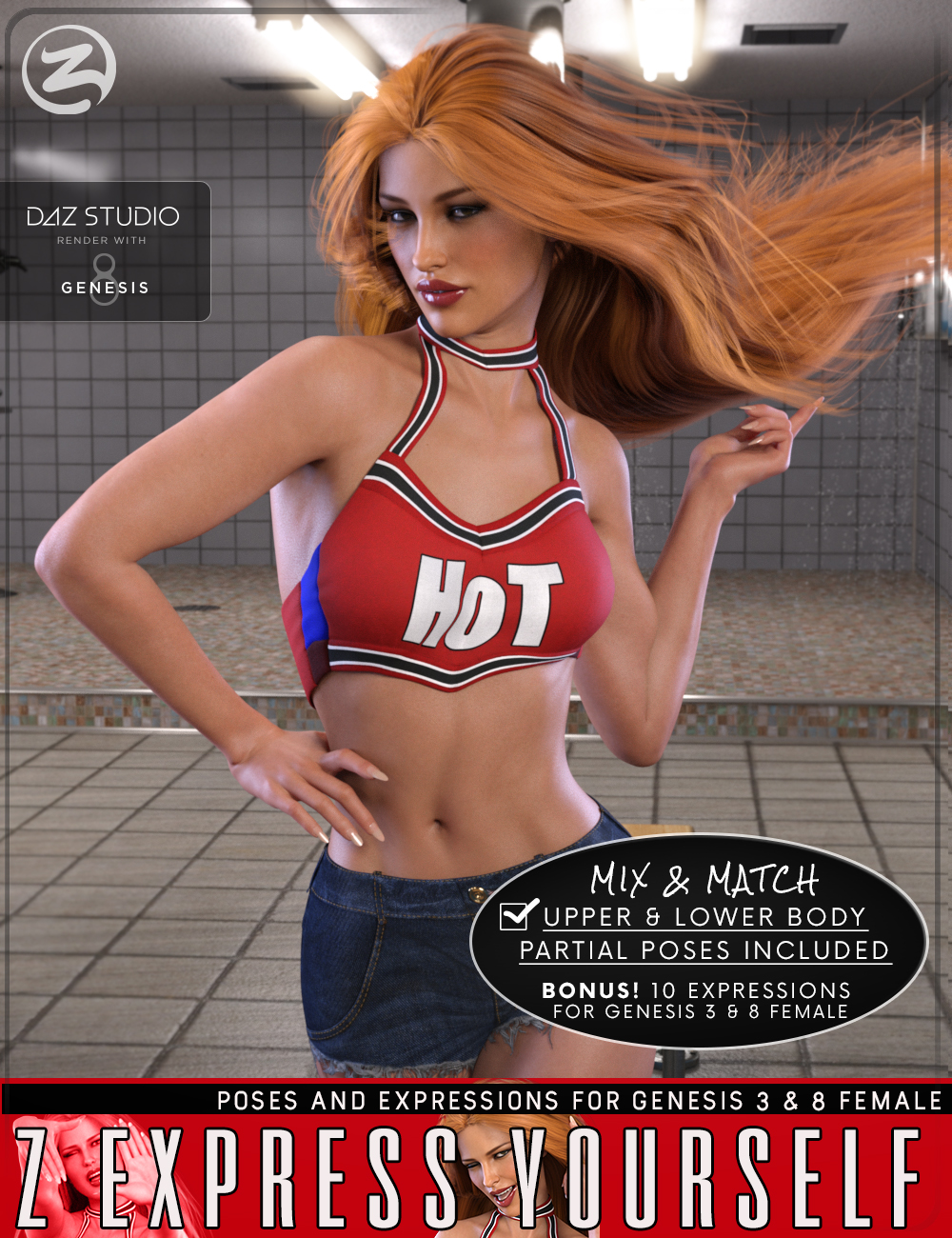 Z Express Yourself - Poses & Expressions for Genesis 3 and 8 by: Zeddicuss, 3D Models by Daz 3D