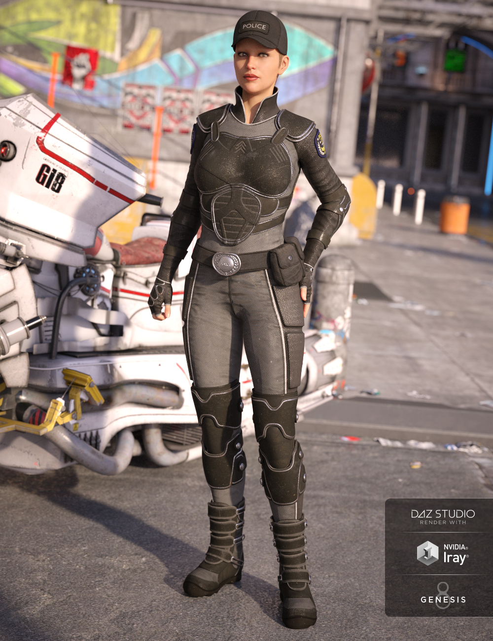 Sci-fi Police Outfit for Genesis 8 Female(s) by: LuthbellinaYura, 3D Models by Daz 3D