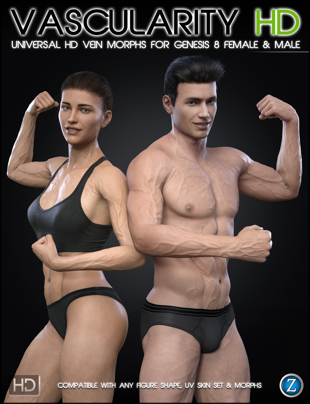 Vascularity HD for Genesis 8 Female and Male by: Zev0, 3D Models by Daz 3D