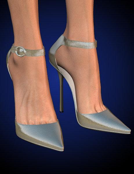 Stylish Shoes - Anklewrap Pumps for V4 by: Jim Burton, 3D Models by Daz 3D
